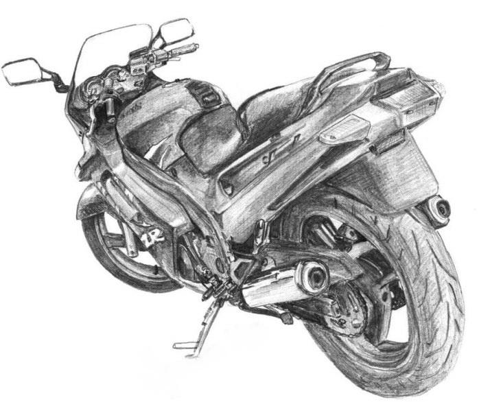 Девушка на мотоцикле карандашом фото 448-334