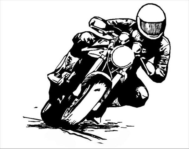 Девушка на мотоцикле карандашом фото 448-503