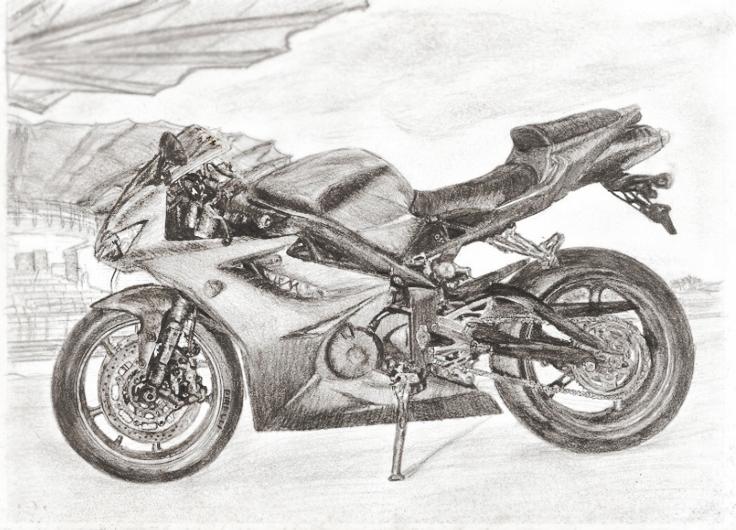 Девушка на мотоцикле карандашом фото 448-400
