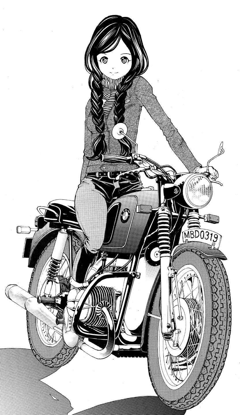 девушка на мотоцикле карандашом