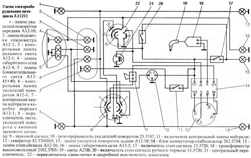 Схема проводки на мотоцикл'минск