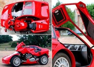 Необычный мото с авто коляской Snaefell